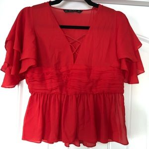 Zara Top Blouse Red Size S NEW